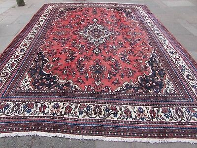 Old Hand Made Traditional Persian Rug Oriental Wool Red Large Carpet 408x310cm