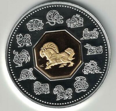 Canada 2002 Year Of The Horse $15 .925 Silver & Gold Plated Cameo Proof Coin
