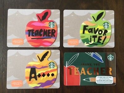"Canada Series Starbucks ""MINI TEACHER 2018 SET"" (4) Gift Cards - New No Value"