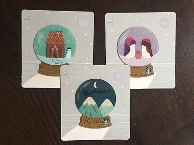 "U.S. Series Starbucks ""MINI HOLIDAY GLOBE SET 2018"" 3 Gift Cards -New No Value"