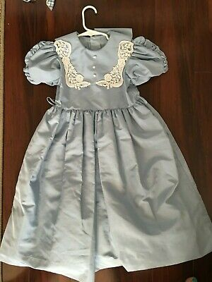 bdae96fa6d2c6 Jayne Copeland Sz 6 Blue Vintage Dress White Collar Lace Pearls Formal Made  USA