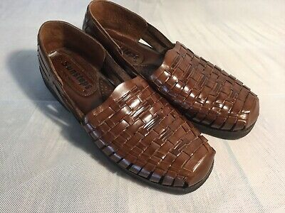 a48c7b1f0359c Sunsteps Mens Brown Huarache Sandal Hand Woven Leather Closed Toe Loafer  Size 10