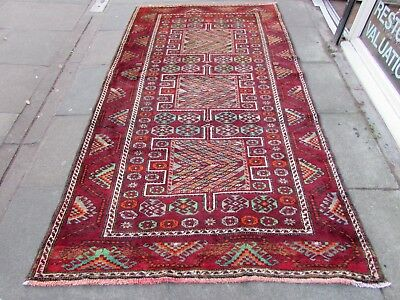 Old Hand Made Traditional Persian Rug Oriental Wool Red Long Rug 273x156cm