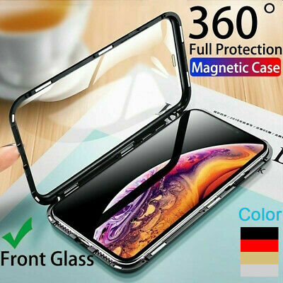 360° Magnetic Adsorption Metal Case Cover Front Back Glass For iPhone Xs Max XR