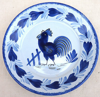 HB Quimper Blue Rooster Plate Hand Painted Faience France 1980