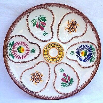 HENRIOT QUIMPER Vintage Oyster Plate Hand Painted Faience 1960
