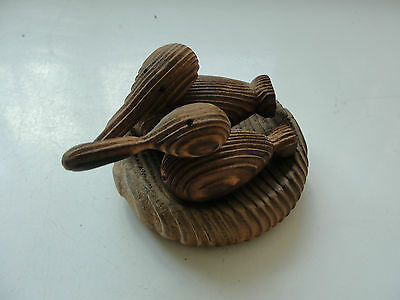 Pair of small wood ducks, water fowl, on wood disk, old, hand made