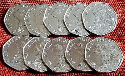 2017 Beatrix Potter Jeremy Fisher 10x  50p Fifty Pence Unc Coins
