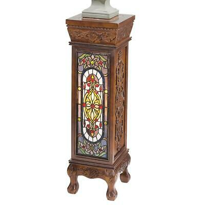 Design Toscano Baldwin Beaux-Arts Illuminated Stained Glass Hand-Carved Pedestal