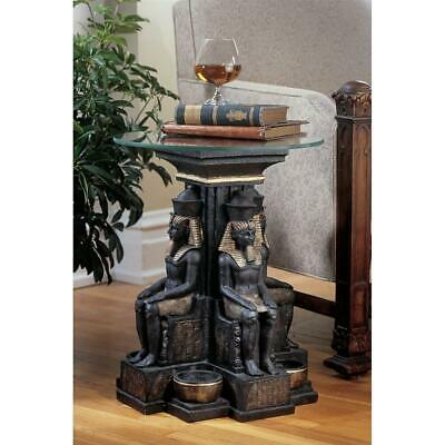Design Toscano Ramses II Egyptian Sculptural Glass-Topped Table: Set of Two