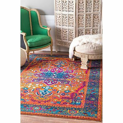 0b3d0236121138 NULOOM TRADITIONAL VINTAGE Vibrant Area Rug in Black, Yellow, Pink ...