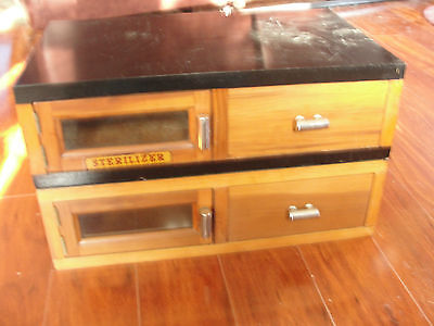 Barbershop pair of sterlizer marble topped cabinets, drawer set, wood,old,dental