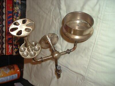 Antique Brass Wall Mount Bathroom Fixture Toothbrush Cup w/ Arm for Soap