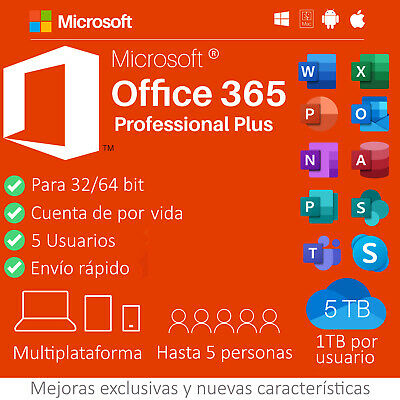 MICROSOFT OFFICE 365 PRO PLUS HASTA 5 DISPOSITIVOS WINDOWS Y/O MAC. 32/64 bits