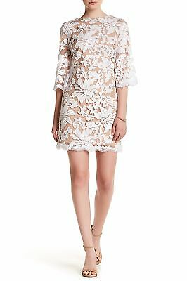 DRESS the POPULATION White Nude Sequin Lace Sheer Flare Sleeve Melody Mini XS 0