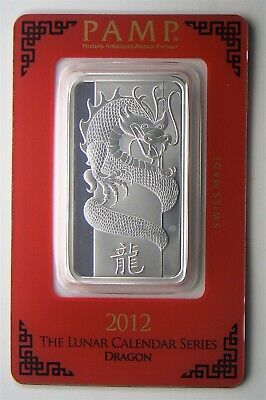 1 oz 2012 Pamp Suisse Silver Bar YEAR OF THE DRAGON #033738