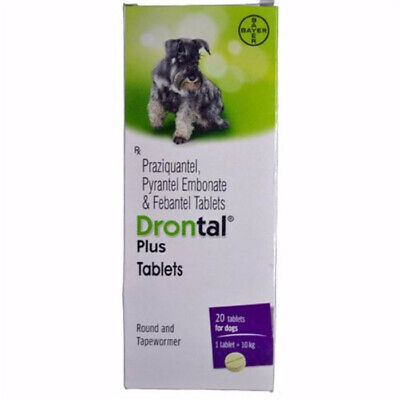 Bayer Drontal Plus  Roundworm and Tapewormer For Dog 4 Tablets Box free