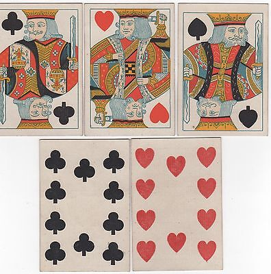 Antique De La Rue Square Corner Playing Cards  King's 10's Full House Poker Hand