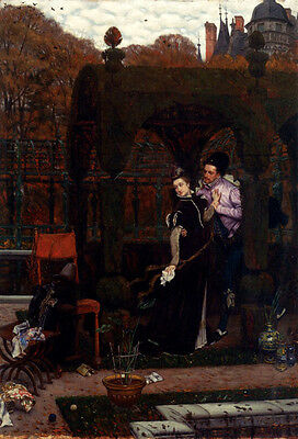 Oil painting James Jacques Joseph Tissot - Portraits lovers in landscape canvas