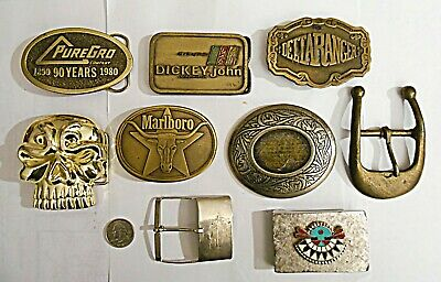Huge Lot of Belt Buckles Cowboy Rangler Brass Heavy Silver Plate Skull