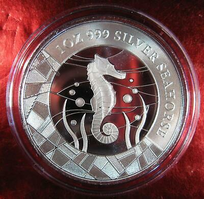 """2018 1 oz Samoa Seahorse .999 Silver Coin Prooflike BU """"abstract stain-glass"""""""