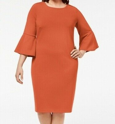 0016e685a Calvin Klein NEW Orange Women's Size 22W Plus Bell Sleeve Sheath Dress $99  #050