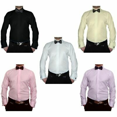 Wedding Tuxedo Shirt S11+ Black Bow Tie Cufflinks Wedding Shirt