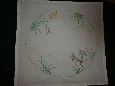 Vintage Square Embroidered Linen Table Cloth with Deer