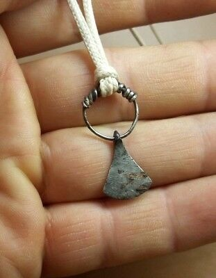 RARE ANCIENT Silver Amulet Pendant AXE Goths 2 - 4 century AD ( Wearable )#2851