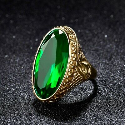 Mens Heavy Gold Stainless Steel Green Emerald Celtic Band Ring Vintage Jewelry