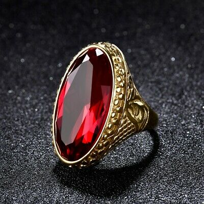 Fashion Mens Heavy Gold Stainless Steel Oval Garnet Crystal Ring Celtic Band