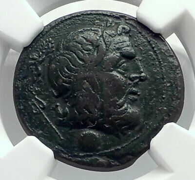 BRUNDISIUM in CALABRIA Authentic Ancient 215BC Greek Coin POSEIDON NGC i77374