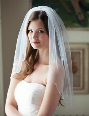 New Simple Ivory White Bead Edge Bridal Veils One Layer Wedding Veil with Comb