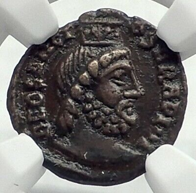 Ancient ROMAN Pagan FESTIVAL OF ISIS ? Ancient Coin w SERAPIS & NILE NGC i77381