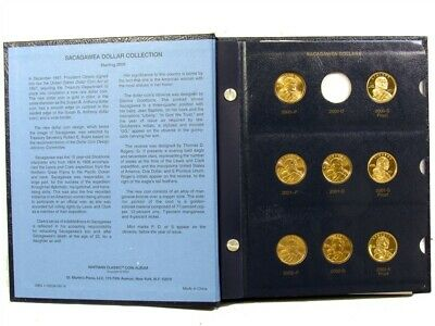 Near Complete 2000-2008 Sacagawea Golden Dollar BU Set Album - Proofs Included