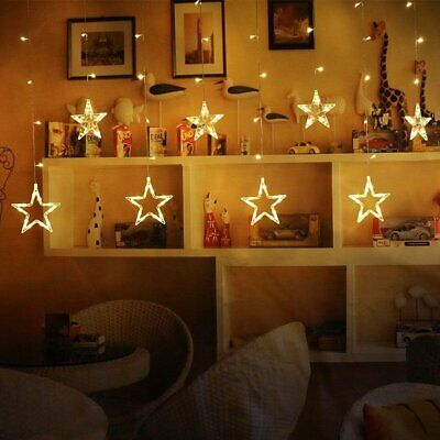 LED Star Fairy String Lights Curtain Window Bedroom Xmas Party Home Decor Lamps