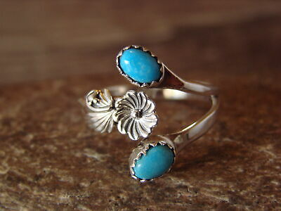 Native American Indian Jewelry Sterling Silver Turquoise Adjustable Ring! Pino