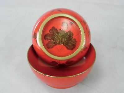 Japanese Red Lacquer ware Lidded Soup Bowl Vtg Wooden Owan Makie Gold LW240