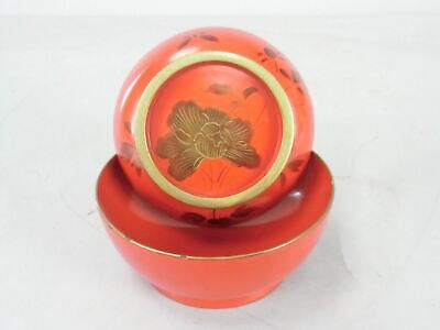 Japanese Red Lacquer ware Lidded Bowl Vtg Wooden Owan Gold Flower Makie LW245