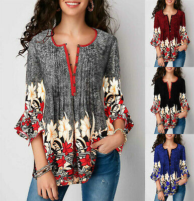 UK Summer Women Floral Bell Sleeve Blouse Tops Ladies V Neck T Shirts Plus Size