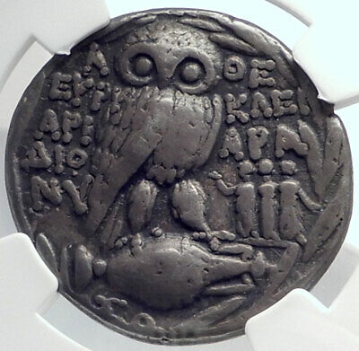 ATHENS Greece Athenian Silver Tetradrachm Greek Coin THREE GRACES OWL NGC i77387