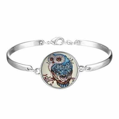 Cute Owl Animal Silver Bracelet Wristband Time Gem Women Bangle Jewelry US STOCK