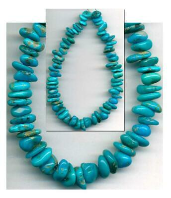 """CASTLE DOME TURQUOISE BEADS~Arizona """"Pinto Valley"""" 6-8mm Genuine A closed Mine"""