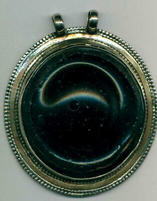 "Roman Ancient Glass Fragment Vessel Bottom Large Pendant  2.5"" Diameter"