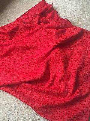 "Vintage Red Cut Out Jersey Poly Fabric 2 yard x 64"" wide tablecloth"