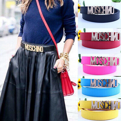 Fashion Women Girl Dress Belt Alloy Buckle MOSCHINO Waistband Strap Gold Letters