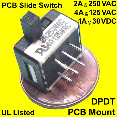 (50) Miniature DPDT Right-Angle PCB Slide-Switch, 4 Amps at 125 VAC, UL Approved
