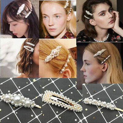 Fashion Lady Pearl Hair Clip Hairband Comb Bobby Pin Barrette Hairpin Headdress