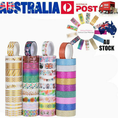 NUOLUX 40x Bulk Lot Glitter Washi Tape Scrapbook Craft DIY Paper Sticker 15mm AU