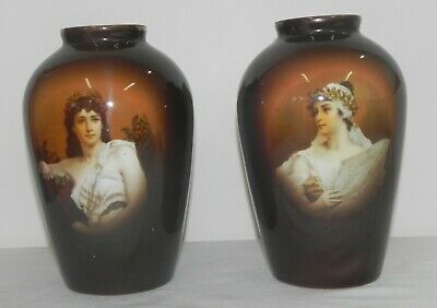 Rare Antique Pair Of Victorian Porcelain China Decorated Mantle Vases